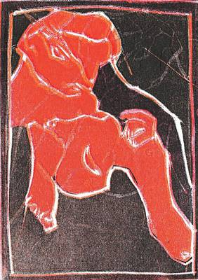 Relief - I Was Born In A Mine Woodcut 17 by Artist Dot