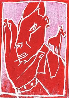 Relief - I Was Born In A Mine Woodcut 65 by Artist Dot