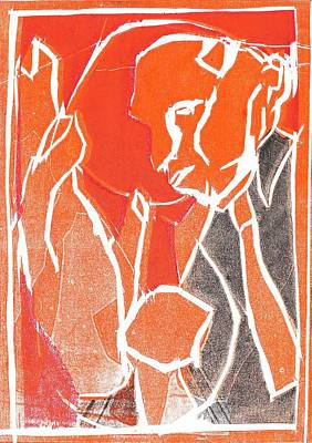Relief - I Was Born In A Mine Woodcut 80 by Artist Dot