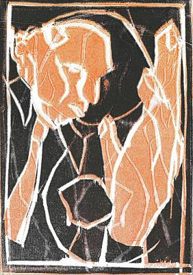 Relief - I Was Born In A Mine Woodcut 84 by Artist Dot