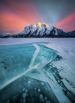 Photograph - Ice Cracking / Abraham Lake, Alberta, Canada  by Nicholas Parker