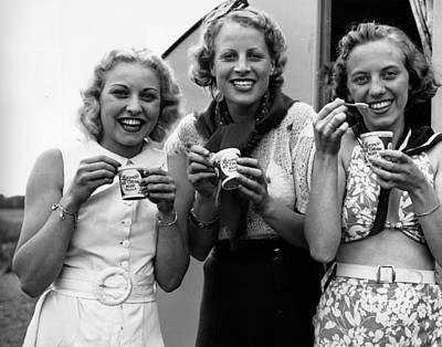 Photograph - Ice-cream Girls by Fox Photos