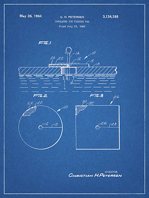 Animals Drawings - Ice Fishing Pad Patent by Dan Sproul