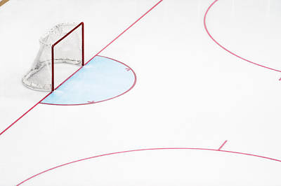 Sports Photograph - Ice Hockey Goal Net And Empty Rink by David Madison