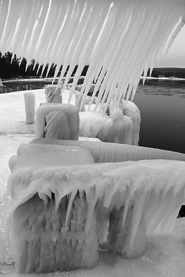 Photograph - Ice Ice And More Ice B W by David T Wilkinson
