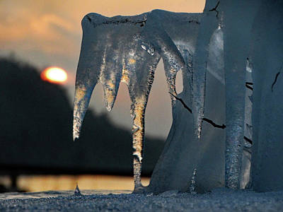 Photograph - Ice Shapes At Sunset by David T Wilkinson