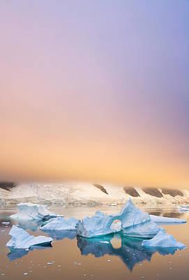 Photograph - Icebergs, Sunset, Antarctic Peninsula by Eastcott Momatiuk