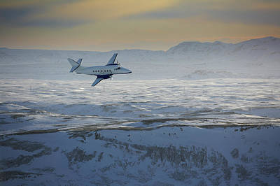 Flying Photograph - Iceland, Cessna Plane Flying Over Snow by Arctic-images