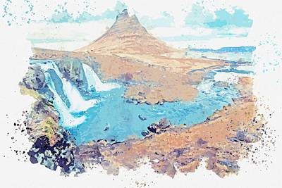 Classical Masterpiece Still Life Paintings - Icelandic Waterfall by Adam Asar 2 by Celestial Images