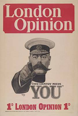 Painting - Iconic First World War Recruitment Poster Featuring Lord Kitchener  Alfred Leete 1882 1933  by Celestial Images