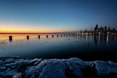 Photograph - Icy Chicago Skyline At Dawn  by Sven Brogren