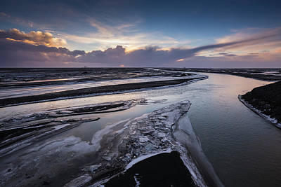 Channel Wall Art - Photograph - Icy River Channels At Sunset by Ed Norton