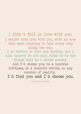 Digital Art - I'd Choose You 3 #quotes #love #minimalism by Andrea Anderegg