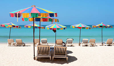 Lounge Chair Photograph - Idyllic Tropical Resort Beach Scene In by Tbradford