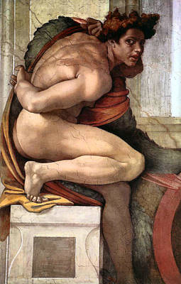 Painting - Ignudo Number Three Of 1511 by Michelangelo Buonarroti