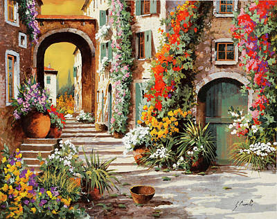 Automotive Paintings Royalty Free Images - Il Cielo Giallo Sul Fondo Royalty-Free Image by Guido Borelli