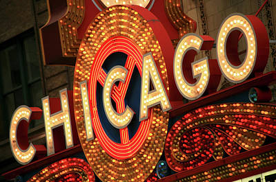 Photograph - Illuminated Chicago Theater Sign by Hisham Ibrahim