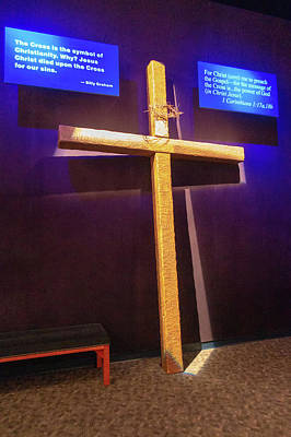 Photograph - Illuminated Crusifixion Cross And Scripture Quotes At Billy Grah by Alex Grichenko