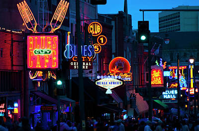 Photograph - Illuminated Signs On Beale Street In by Tetra Images