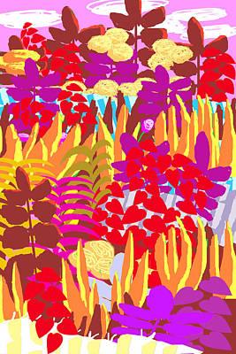 Digital Art - Illustration And Painting Flower Garden by Charles Harker