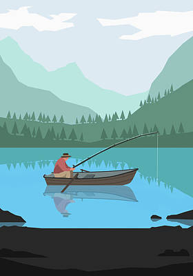 Digital Art - Illustration Of Man Fishing In Lake by Malte Mueller