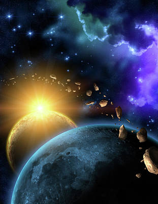 Digital Art - Illustration Of The Earth, Moon, Sun by Kalistratova