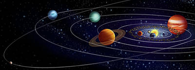 Photograph - Illustration Showing Solar System by Bsip/uig