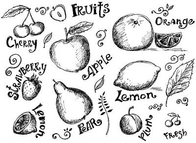 Illustrations Of Various Fruits And Art Print by Kalistratova