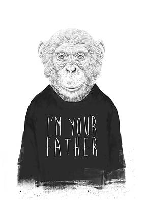Ape Wall Art - Mixed Media - I'm Your Father by Balazs Solti