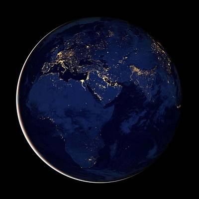 Painting - Image Of Europe, Africa, And The Middle East At Night. Original From Nasa by Celestial Images