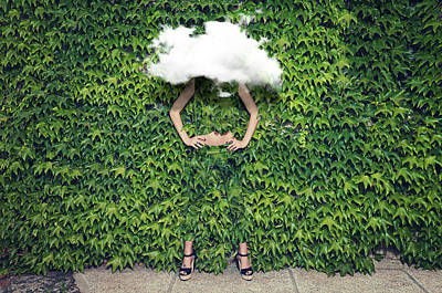 Image Of Young Woman On Ivy Plants And Art Print by Francesco Carta Fotografo