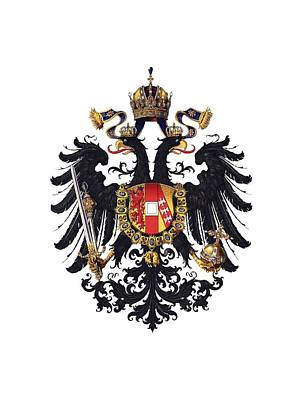 Drawing - Imperial Coat Of Arms Of The Empire Of Austria-hungary 1815 Transparent by Helga Novelli
