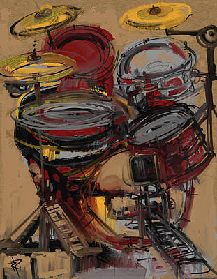 Music Mixed Media - Impressionistic Drums by Russell Pierce