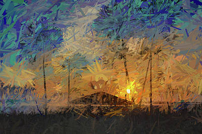 Mixed Media Royalty Free Images - Impressions of a Beach Sunset Royalty-Free Image by Peter Tellone
