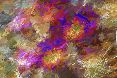 Mixed Media Royalty Free Images - Impressions of Cactus Flowers Royalty-Free Image by Peter Tellone