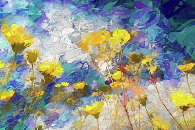 Mixed Media - Impressions Of Desert Sunflowers by Peter Tellone