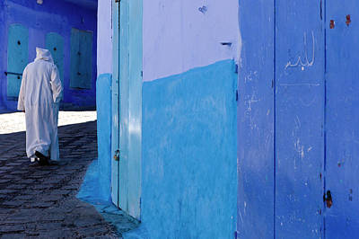 Photograph - In A Street Of Blue Chefchaouen by Claude Renault