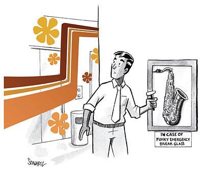 Drawing - In Case Of Funky Emergency Break Glass by Benjamin Schwartz