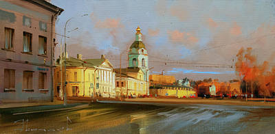 Painting - In The Autumn Sundress. Yauzskaya Street. by Alexey Shalaev