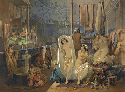 Drawing - In The Hammam by Amedeo Preziosi