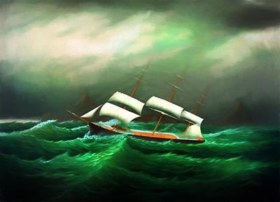 Digital Art - In The Storm At Sea by Carlos Diaz