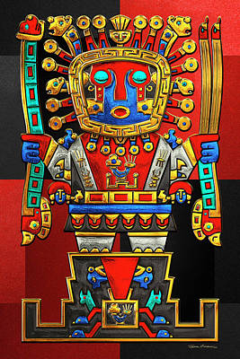 Digital Art - Incan Gods - The Great Creator Viracocha On Red And Black Canvas by Serge Averbukh