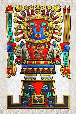 Digital Art - Incan Gods - The Great Creator Viracocha On White Leather by Serge Averbukh