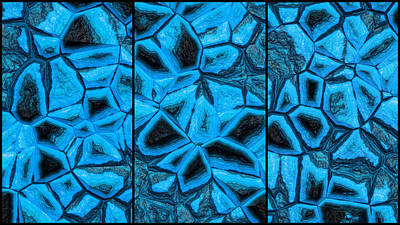 Red Roses - Incredible Blue Abstract Wall Triptych by Don Northup