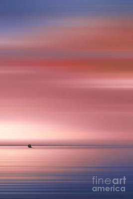 Impressionism Photos - India Colors - Abstract Wide Sunrise and Boat by Stefano Senise