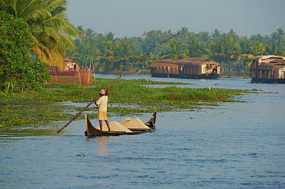 Kerala Photograph - India, Kerala, Allepey, Backwaters by Tuul & Bruno Morandi