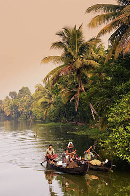 Kerala Photograph - India Kerala Backwaters Indian People by Travelstock44 / Look-foto