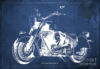 Animals Drawings - INDIAN CHIEF DARK HORSE, 2012 Original Blueprint Blue Background by Drawspots Illustrations