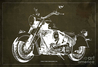 Animals Drawings - INDIAN CHIEF DARK HORSE, 2012 Original Blueprint Brown Background by Drawspots Illustrations