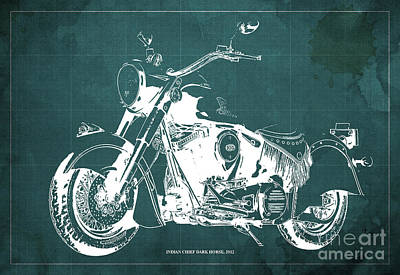 Animals Drawings - INDIAN CHIEF DARK HORSE, 2012 Original Blueprint Green Background by Drawspots Illustrations